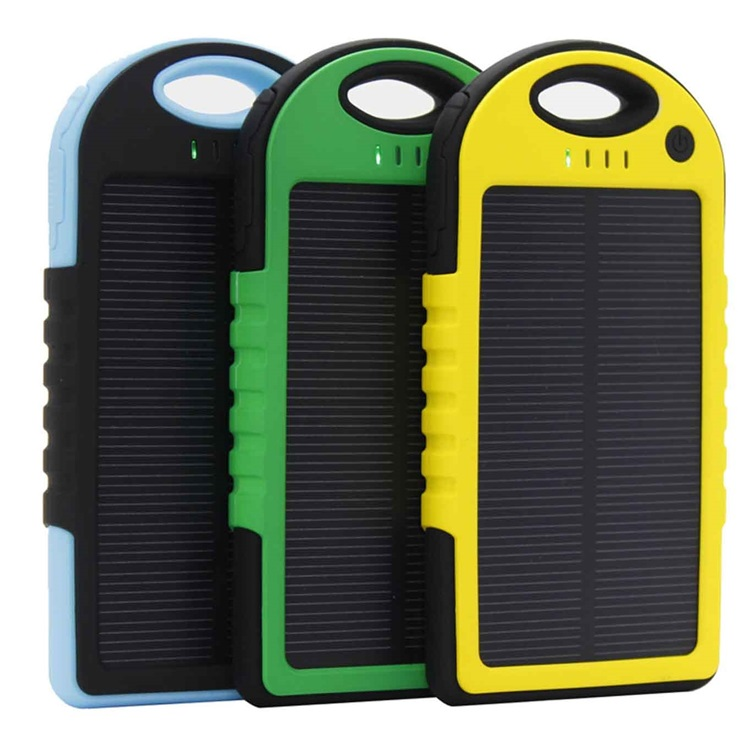 Rugged solar charger 10000mah portable power bank battery with led.