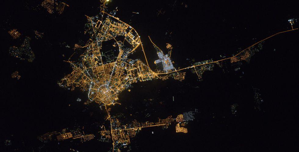 Вид ночного Оренбурга из космоса