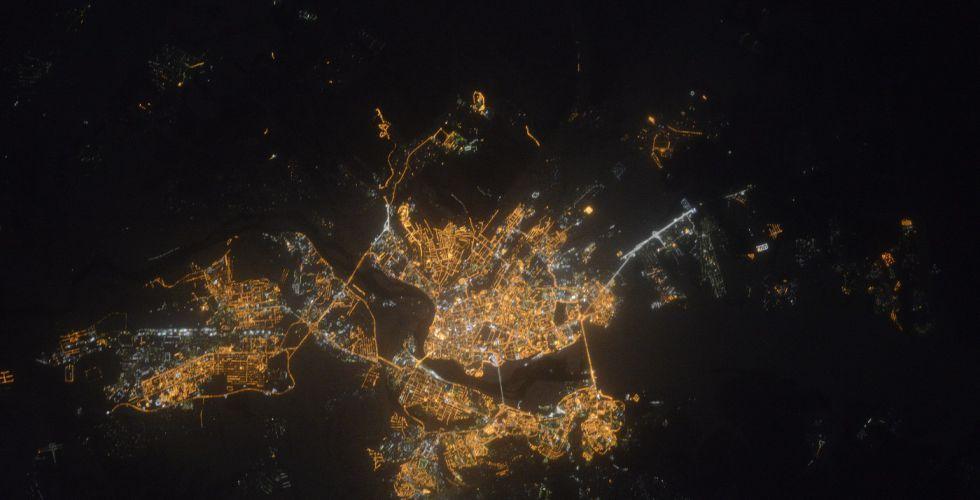 Иркутск ночью из космоса