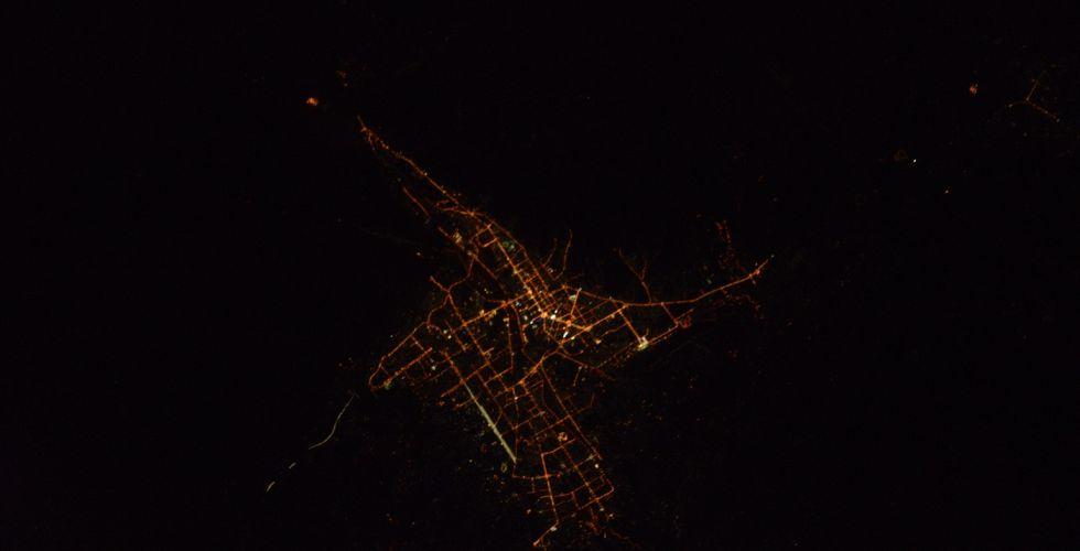 Вид ночного Душанбе из космоса