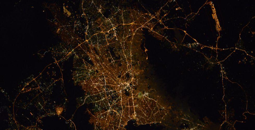 Афины ночью из космоса