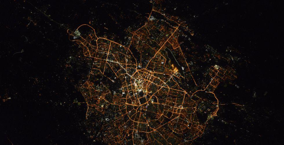 Вид ночного Ташкента из космоса
