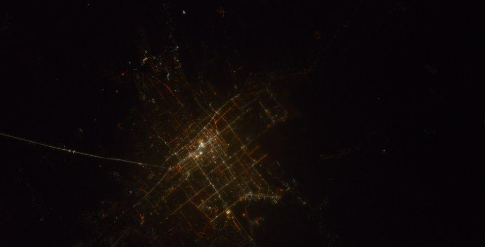 Вид ночного Бишкека из космоса
