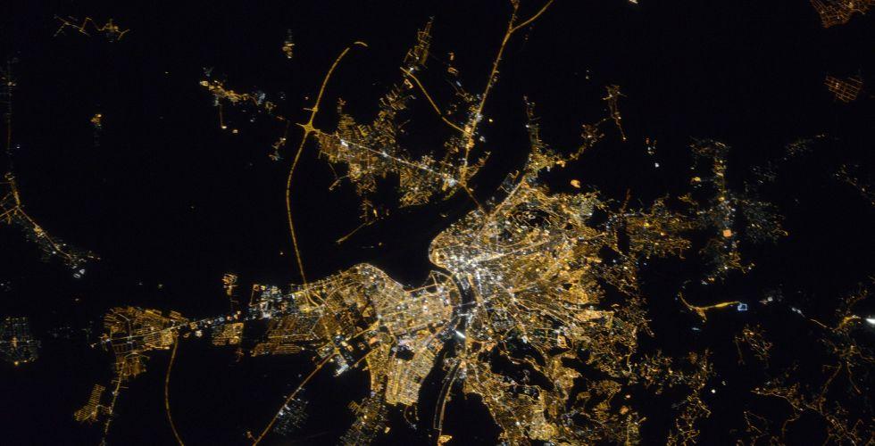 Вид Белграда ночью из космоса