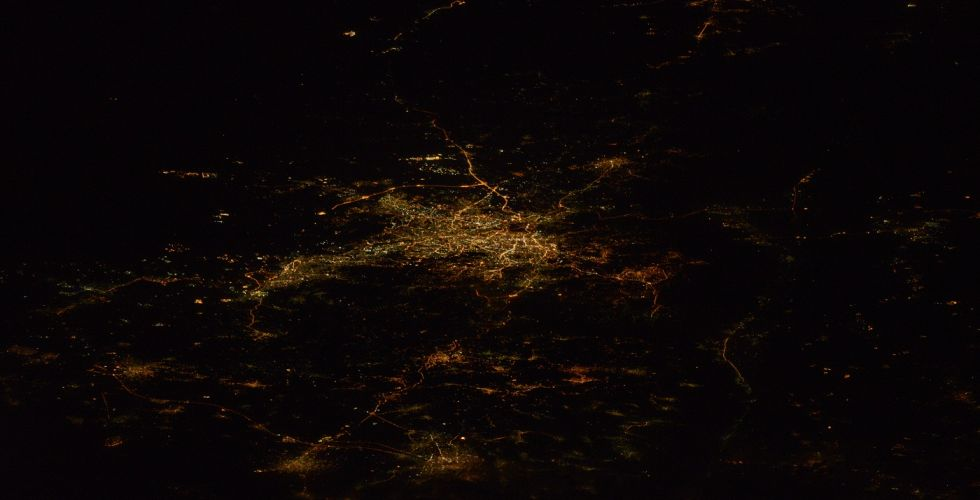 Вид ночного Иерусалима из космоса