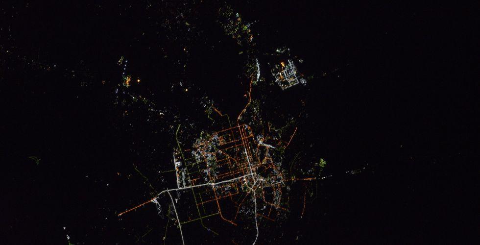 Вид ночного Шымкента из космоса