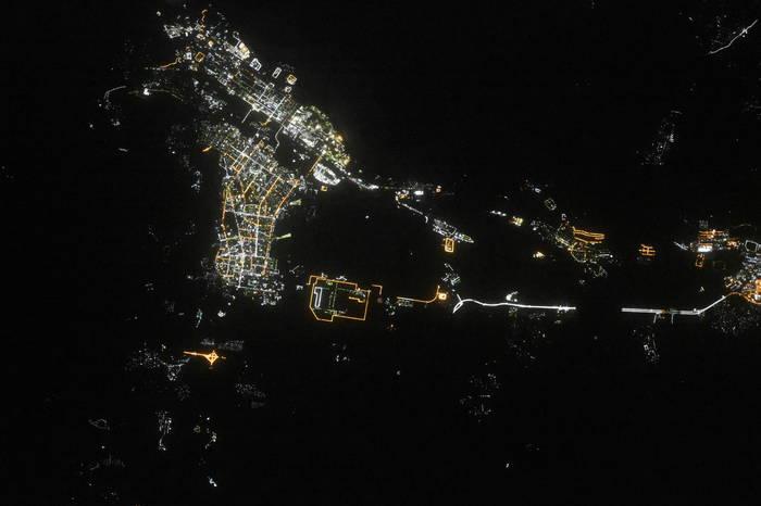Ангарск ночью из космоса
