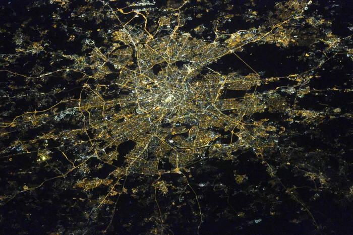 Москва ночью из космоса