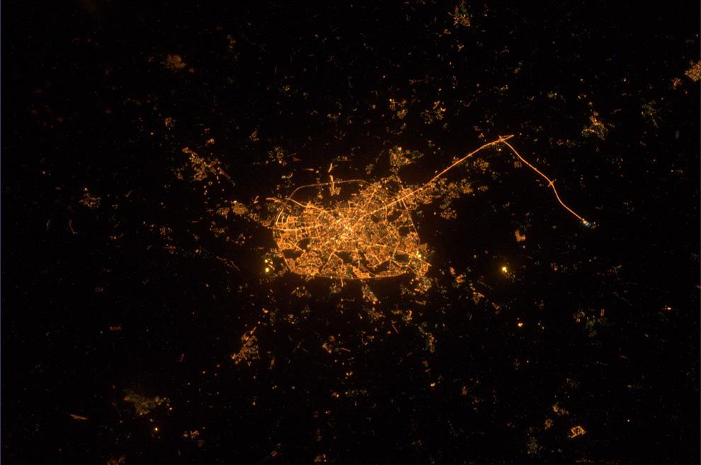Минск ночью из космоса
