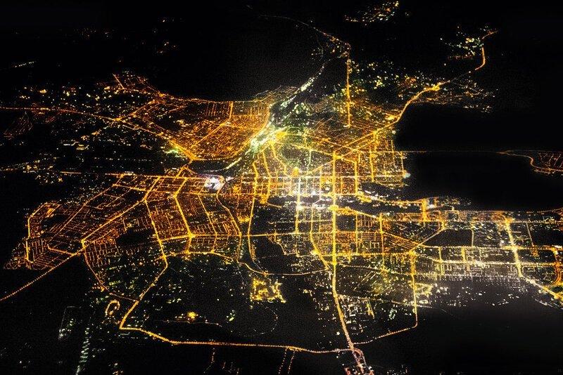 Челябинск ночью из космоса