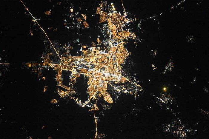 Краснодар ночью из космоса