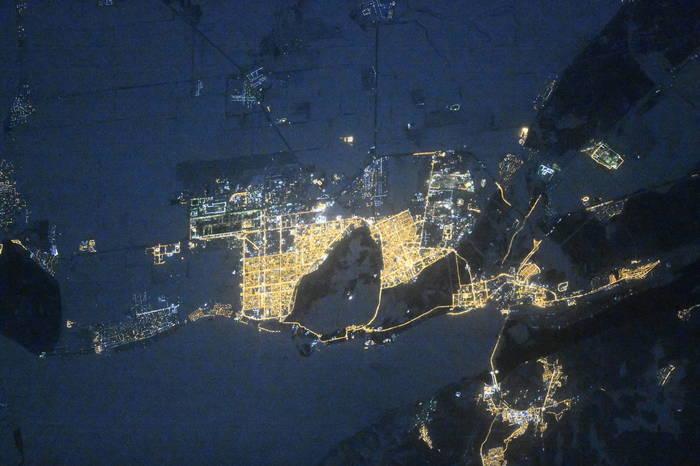 Тольятти ночью из космоса
