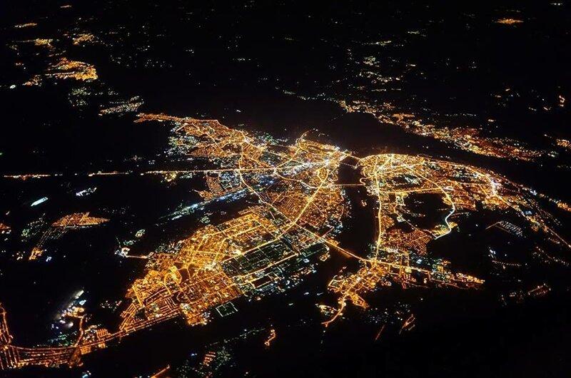 Нижний Новгород ночью из космоса