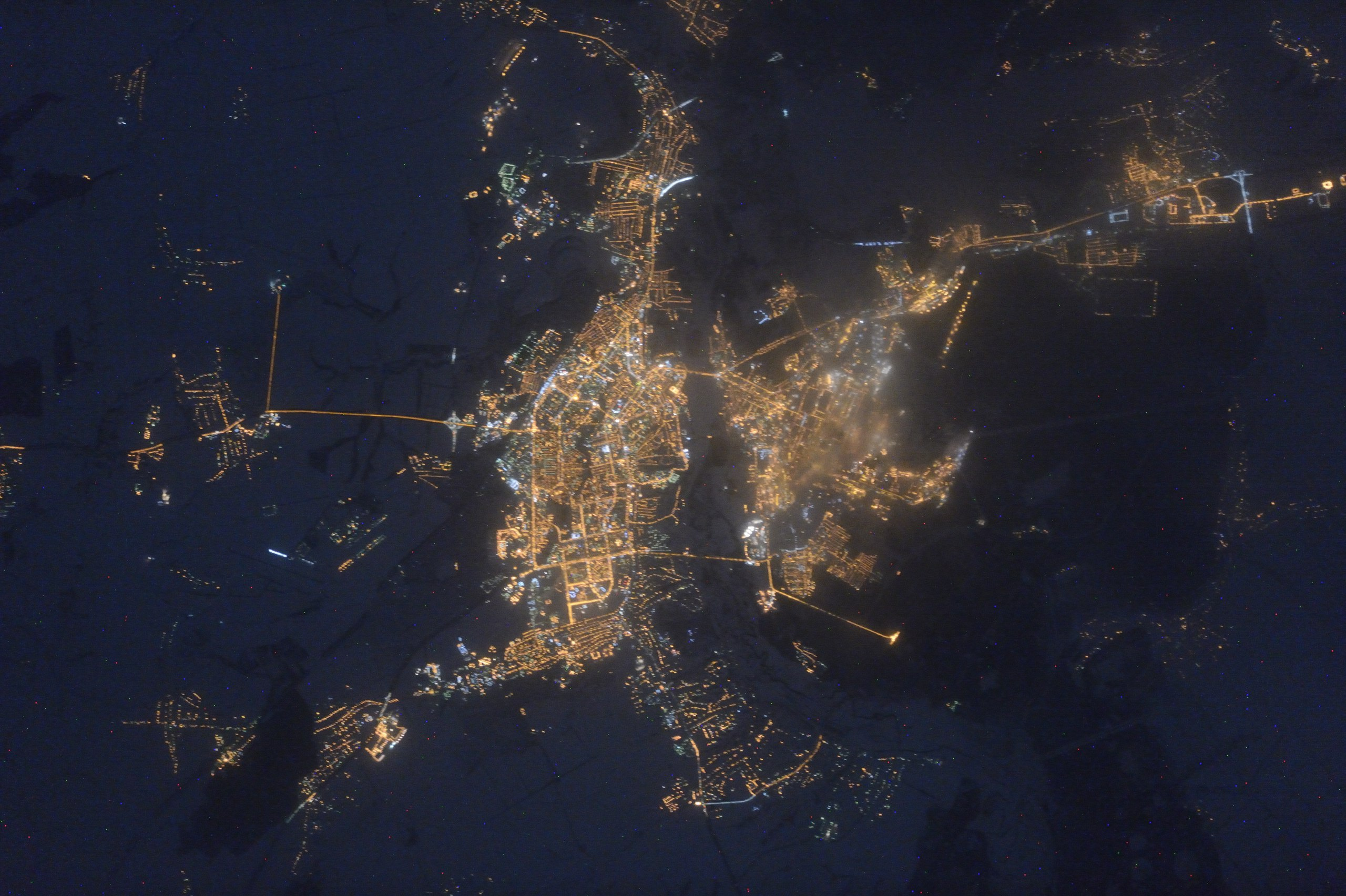 Липецк ночью из космоса