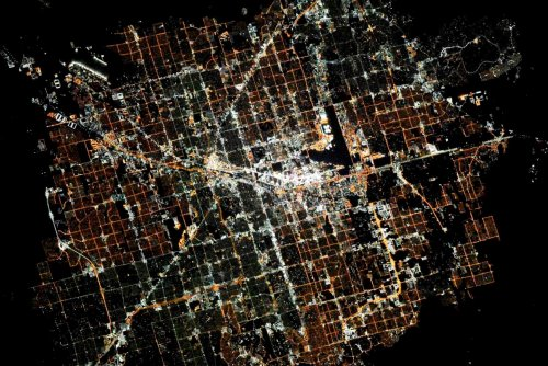 Лас-Вегас ночью из космоса
