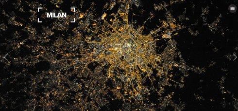 Милан ночью из космоса